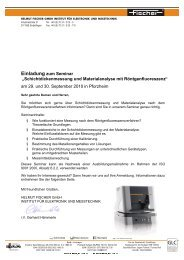"""Einladung zum Seminar """"Schichtdickenmessung und ..."""