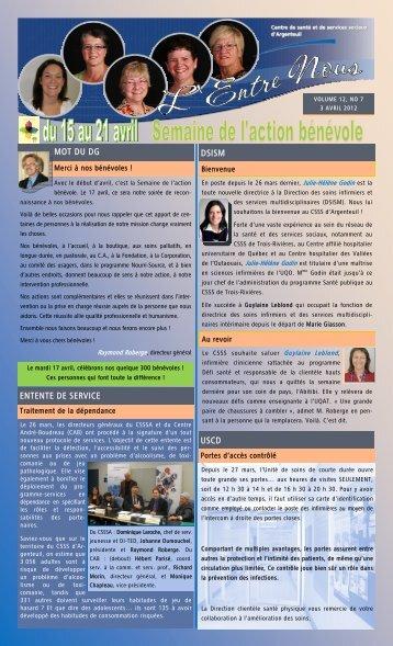 L'Entre Nous- 3 avril 2012 - CSSS Argenteuil
