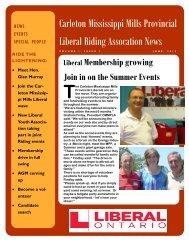 Carleton Mississippi Mills Provincial Liberal Riding Assocation News