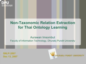 Non-Taxonomic Relation Extraction for Thai Ontology ... - NAiST