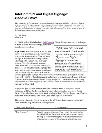 InfoComm09 and Digital Signage: Hand in Glove. - Lyle Bunn