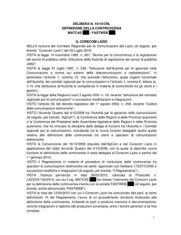 DELIBERA N. 19/10/CRL DEFINIZIONE DELLA ... - Corecom Lazio