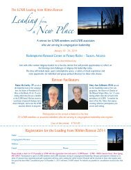 Registration Form for 2014 Leading from Within Retreat - LCWR