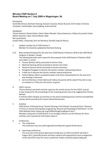 Minutes CIGR Section II Board Meeting on 7 July 2009 in ...