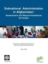Subnational Administration in Afghanistan: Assessment and ...