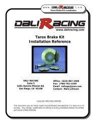 Tarox Brake Kit Installation Reference - Dali Racing