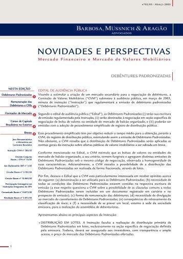Mercado Financeiro e de Valores Mobiliários Março 2003