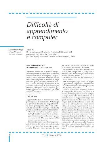 Difficoltà di apprendimento e computer - TD Tecnologie Didattiche