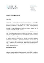 Partnership Agreements - Lavelle Coleman