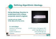 Defining Algorithmic Ideology. - The ICTs and Society Network
