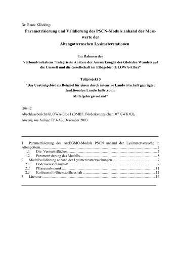 Parametrisierung und Validierung des PSCN-Moduls anhand der ...