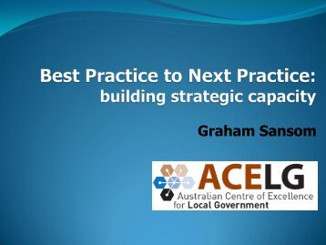 From Best Practice to Next Practice - Centre for Local Government