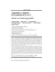 Adaptabilité et validation de la traduction de B vers C