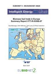 Biomass fuel trade in Europe Summary Report VTT-R-03508-07
