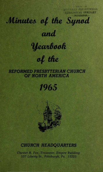 Reformed Presbyterian Minutes of Synod 1965
