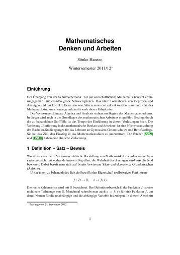 Mathematisches Denken und Arbeiten