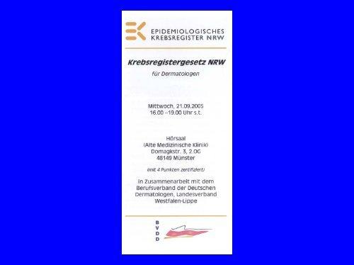 Prof. Dr. W. Wehrmann – Krebsregistergesetz NRW für ...