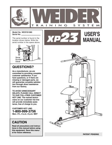weider xp23 - Fitness Equipment