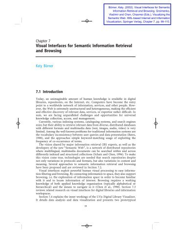 Visual Interfaces for Semantic Information Retrieval and Browsing