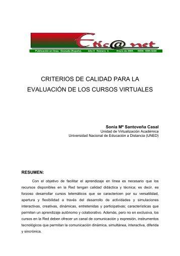 criterios de calidad para la evaluación de los cursos virtuales