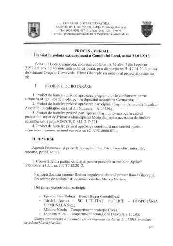 proces verbal sedinta din data 21.01.2013 - Primaria Cernavoda