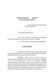 PROJETO DE LEI No , DE 2010 JUSTIFICAÇÃO
