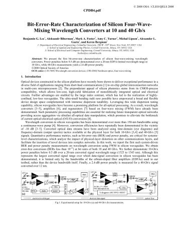 Bit-Error-Rate Characterization of Silicon Four-Wave- Mixing ...