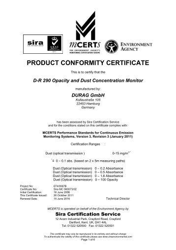 Website cert - Sira Environmental