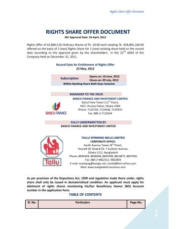RIGHTS SHARE OFFER DOCUMENT - Dhaka Stock Exchange
