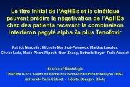 Le titre initial de l'AgHBs et la cinétique peuvent prédire la ... - Afef