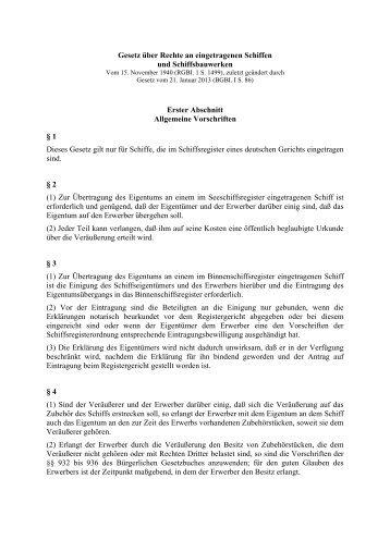 Gesetz über Rechte an eingetragenen Schiffen und ...