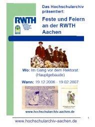 Ausstellungskatalog - Hochschularchiv der RWTH Aachen