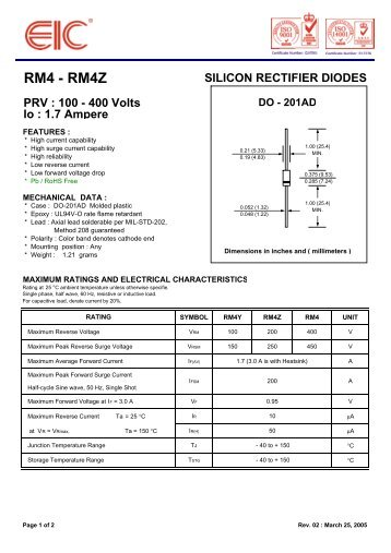 RM4 - RM4Z SILICON RECTIFIER DIODES PRV : 100 - 400 ... - EIC