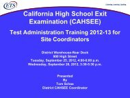 CAHSEE - Oakland Unified School District