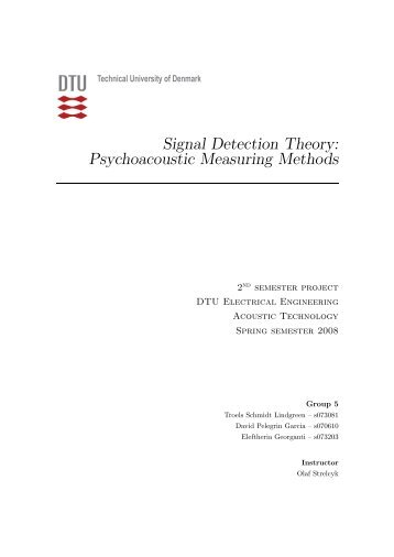 Signal Detection Theory: Psychoacoustic Measuring Methods