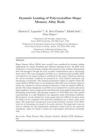 Dynamic Loading of Polycrystalline Shape Memory Alloy Rods
