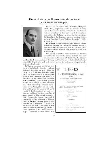 Un secol de la publicarea tezei de doctorat a lui Dimitrie Pompeiu