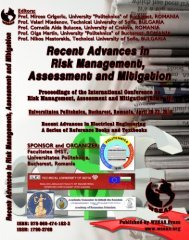 RECENT ADVANCES in RISK MANAGEMENT ... - Wseas.us