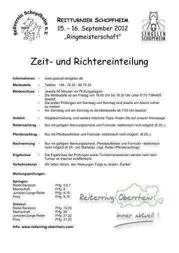 Zeit- und Richtereinteilung - greiner edv turnierservice