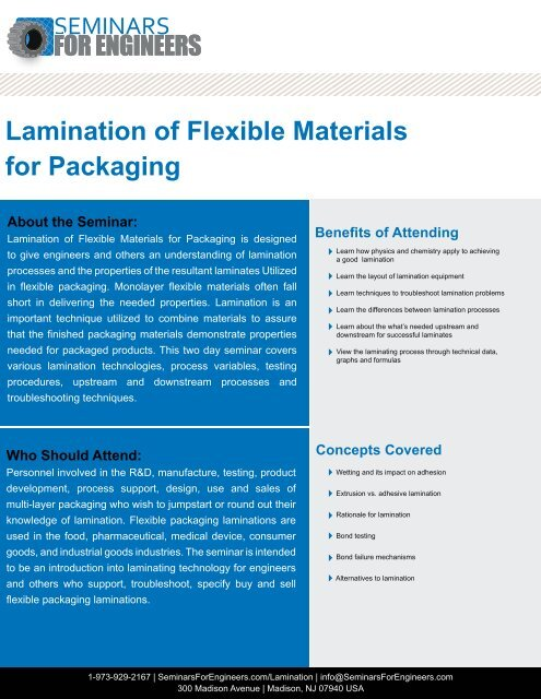 Lamination of Flexible Materials for Packaging DAY 1 - Seminars for
