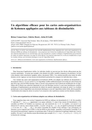 Un algorithme efficace pour les cartes auto ... - Fabrice Rossi