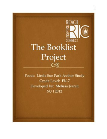 Park, Linda Sue Author Study Booklist by Melissa Jerrett ... - RITELL