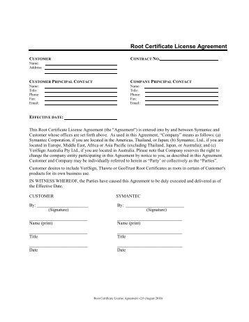 VeriSign Root Certificate License Agreement v2.0 ... - GeoTrust