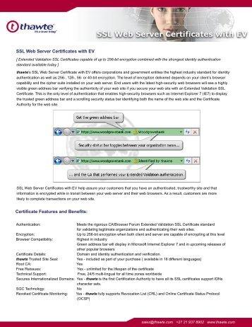 SSL Web Server Certificates with EV Certificate Features ... - Thawte
