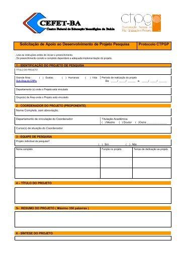 Formulário Solicitação do Auxílio Projeto de Pesquisa - Cefet-BA