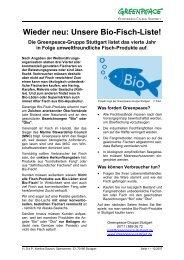 Wieder neu: Unsere Bio-Fisch-Liste! - Greenpeace-Gruppe Stuttgart
