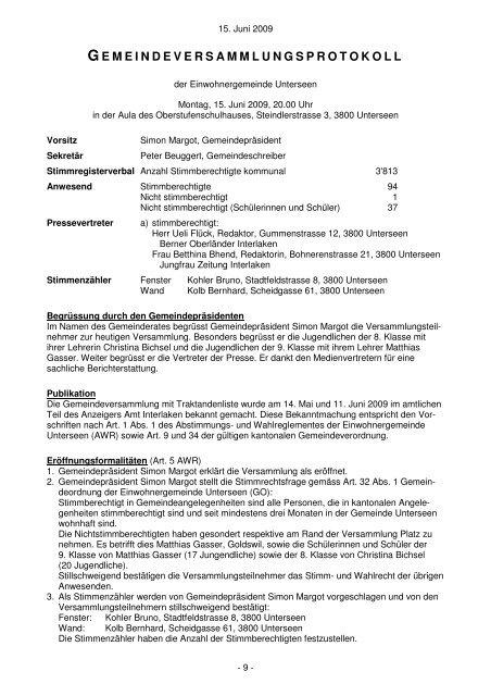 Gemeindeversammlung vom 15. Juni 2009 - Unterseen
