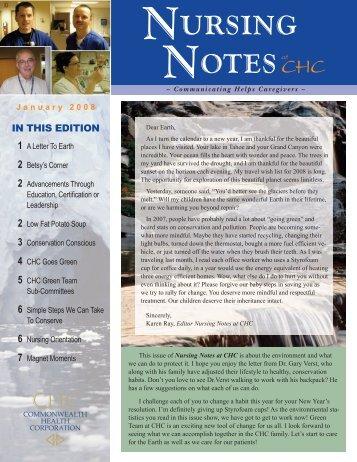 Nursing Notes January 2008 - The Medical Center