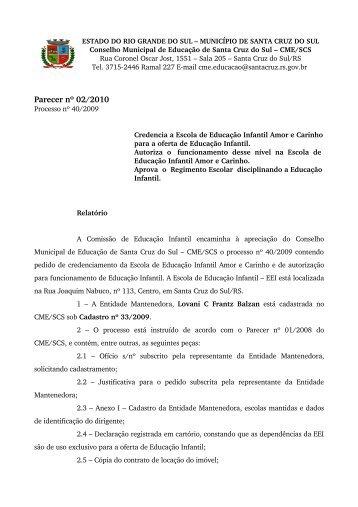 Parecer nº 02/2010 - Prefeitura de Santa Cruz do Sul