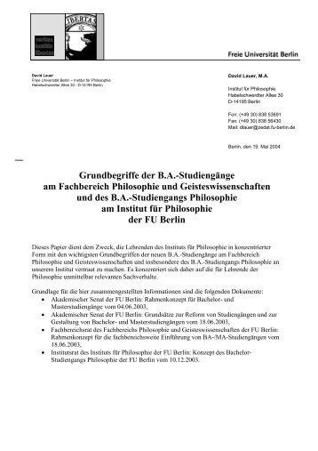 Grundbegriffe der BA-Studiengänge am Fachbereich Philosophie und